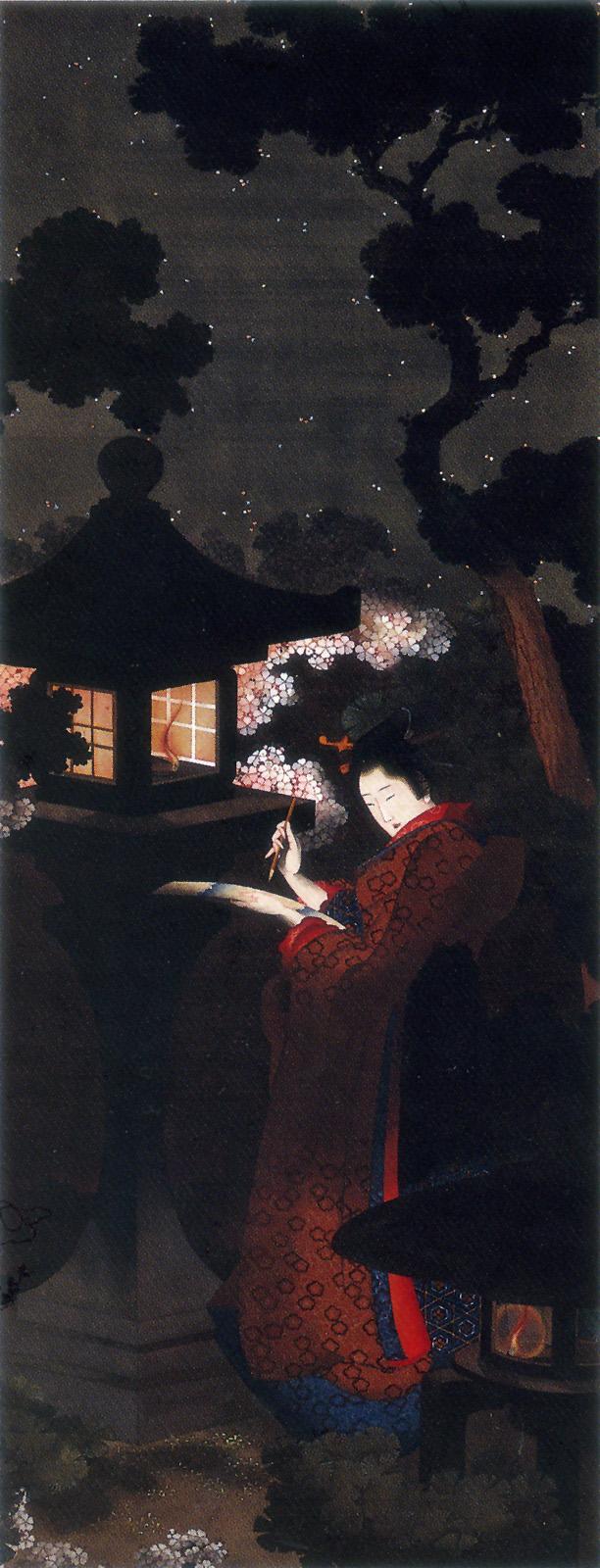 葛飾応為 夜桜美人図