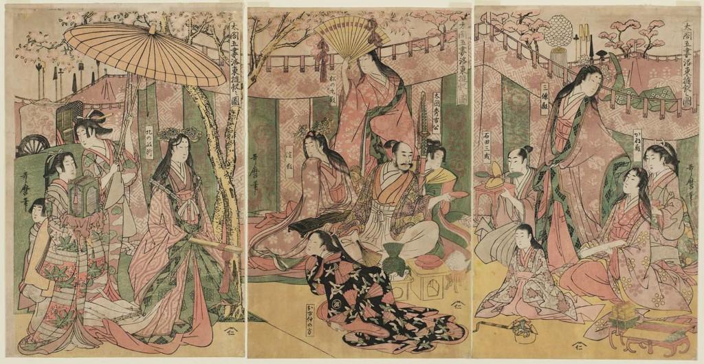 喜多川歌麿作「太閤五妻洛東遊観之図」は、醍醐の花見を題材にしている。