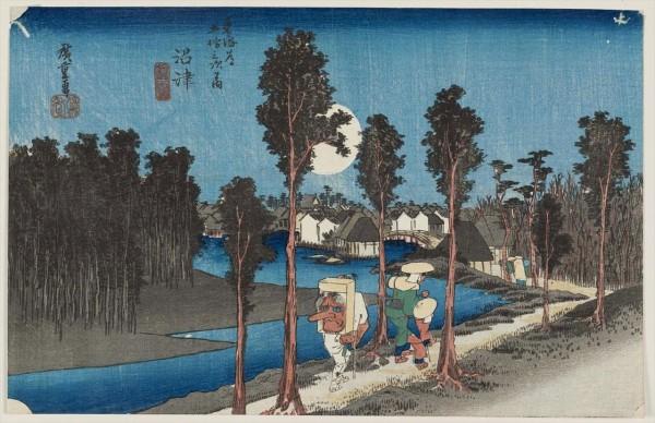 広重東海道五十三次の沼津宿の浮世絵