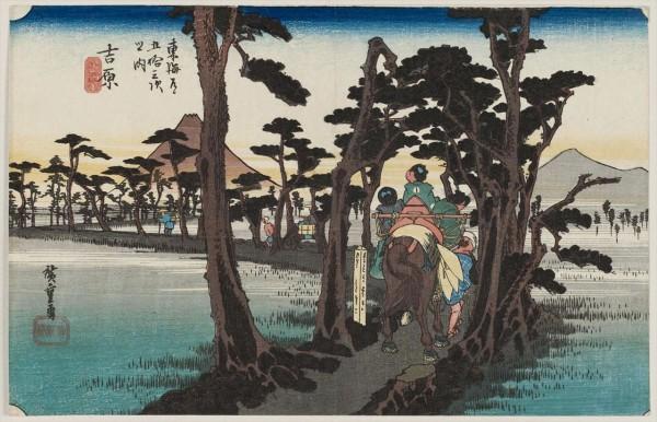 広重東海道五十三次の吉原宿の浮世絵