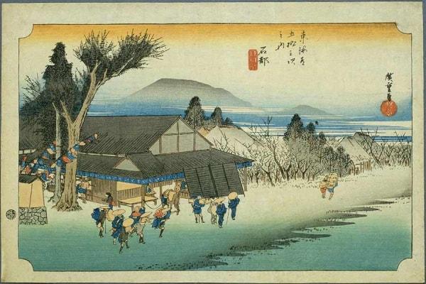 広重東海道五十三次の石部宿の浮世絵