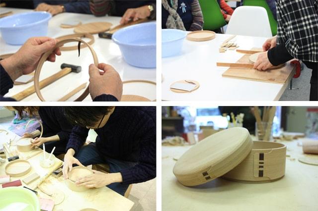 柴田慶信商店の曲げわっぱ丸弁当箱作り体験ワークショップの体験風景